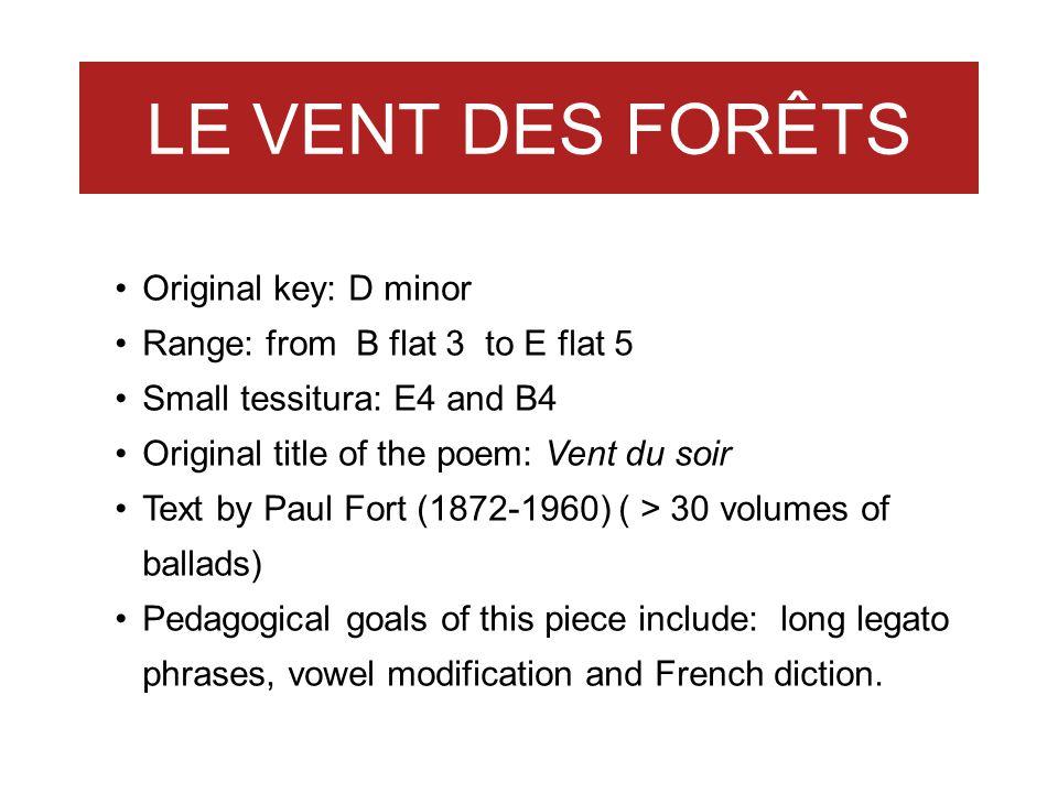LE VENT DES FORÊTS Original key: D minor