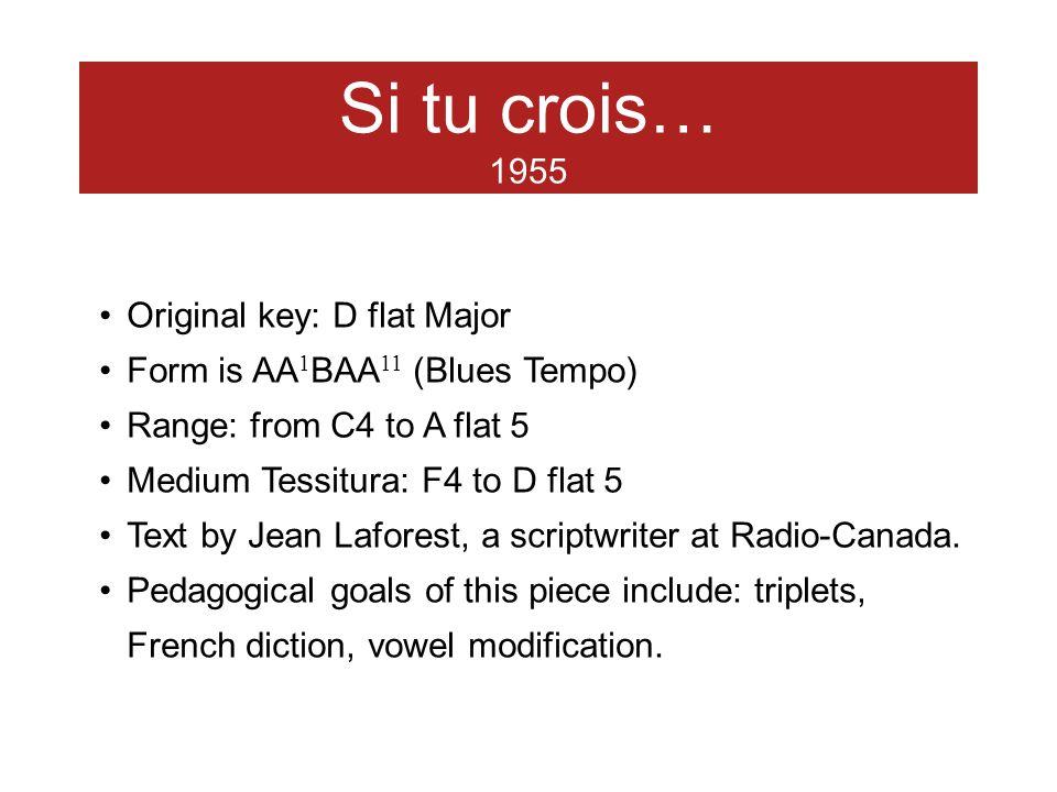 Si tu crois… 1955 Original key: D flat Major