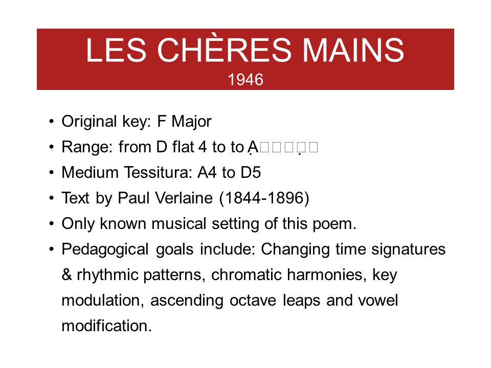 LES CHÈRES MAINS 1946 Original key: F Major
