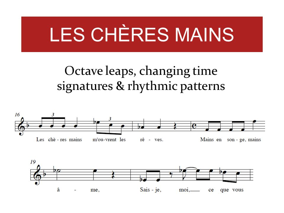 Octave leaps, changing time signatures & rhythmic patterns