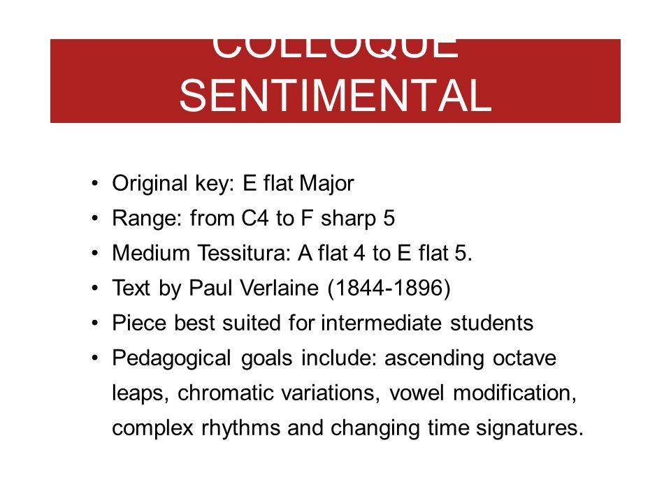 COLLOQUE SENTIMENTAL 1946 Original key: E flat Major