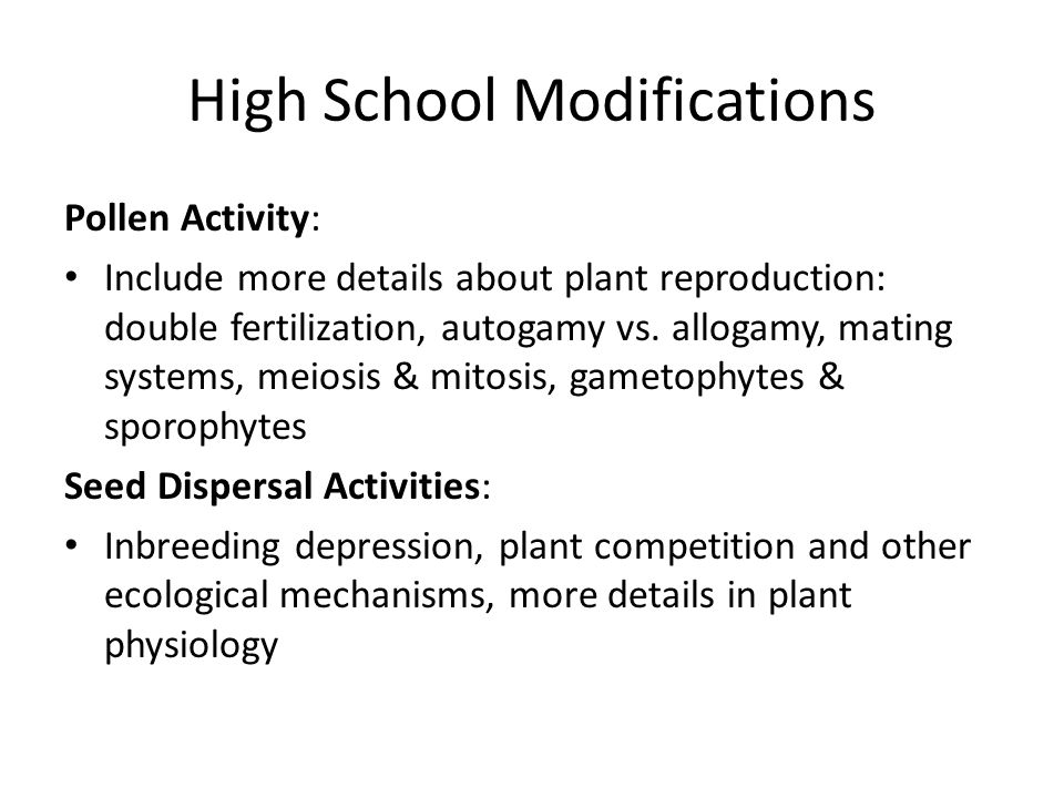 High School Modifications