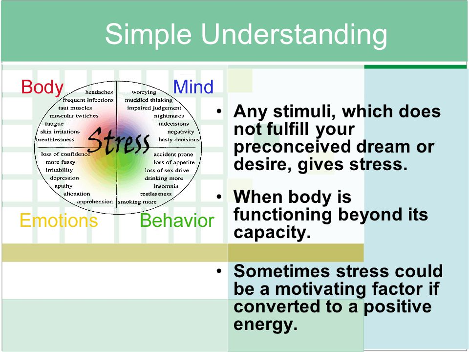 Simple Understanding Any stimuli, which does not fulfill your preconceived dream or desire, gives stress.