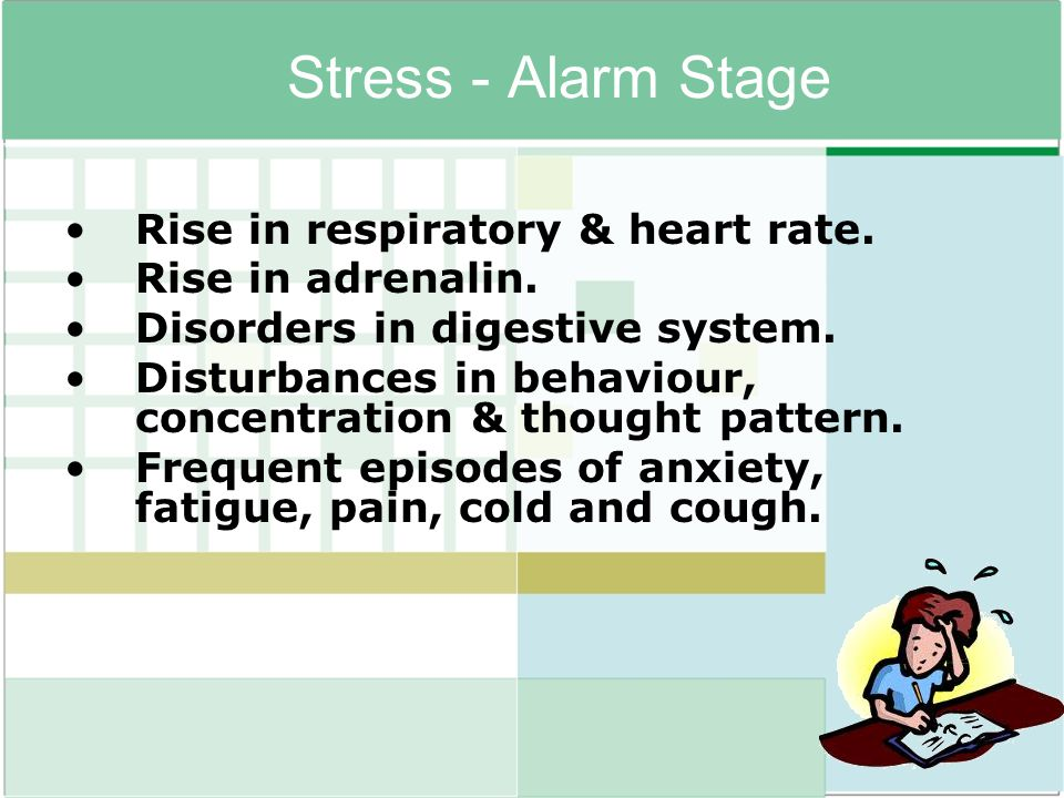 Stress - Alarm Stage Rise in respiratory & heart rate.