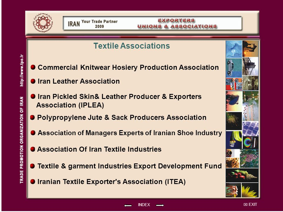 Textile Associations Commercial Knitwear Hosiery Production Association Iran Leather Association.
