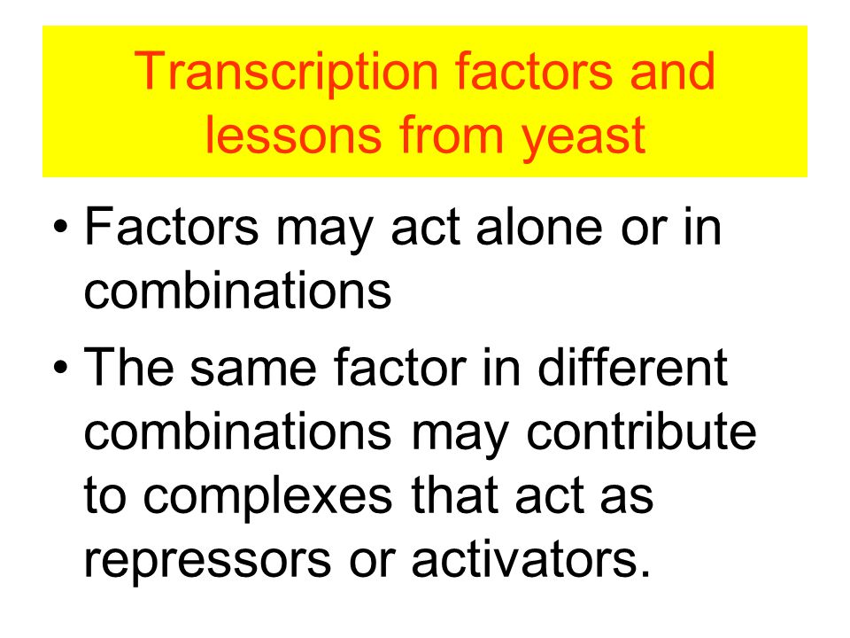 Transcription factors and lessons from yeast