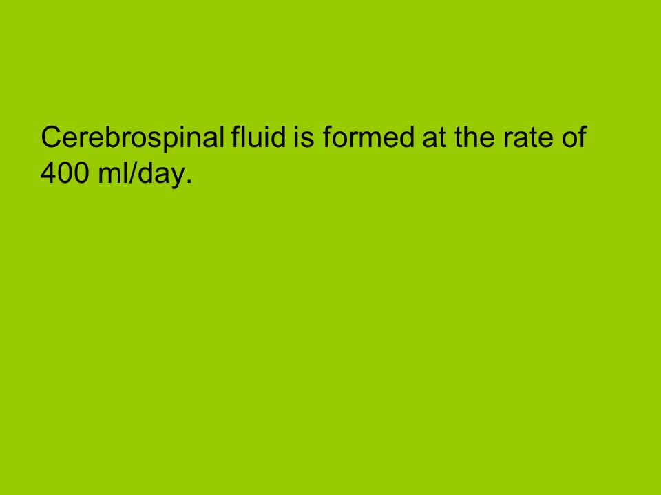 Cerebrospinal fluid is formed at the rate of 400 ml/day.