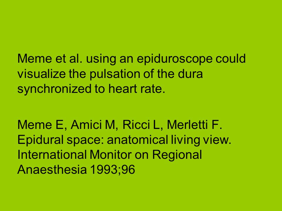 Meme et al. using an epiduroscope could visualize the pulsation of the dura synchronized to heart rate.