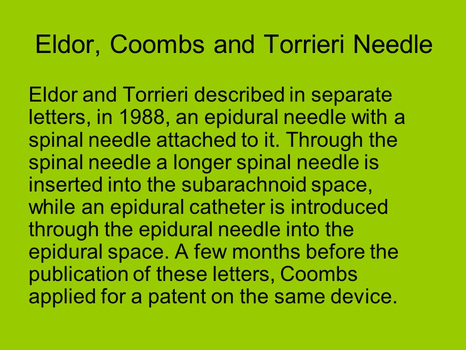 Eldor, Coombs and Torrieri Needle