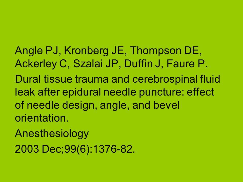 Angle PJ, Kronberg JE, Thompson DE, Ackerley C, Szalai JP, Duffin J, Faure P.