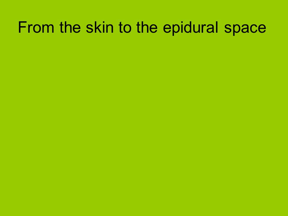 From the skin to the epidural space