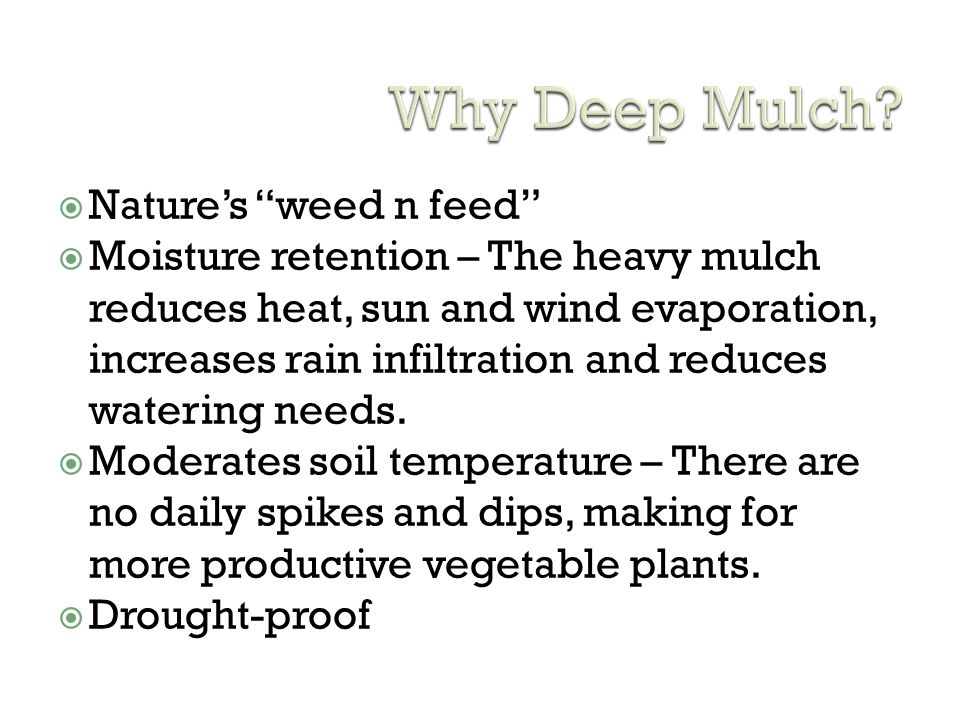 Why Deep Mulch Nature's weed n feed
