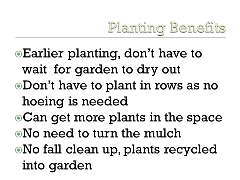 Planting Benefits Earlier planting, don't have to wait for garden to dry out. Don't have to plant in rows as no hoeing is needed.
