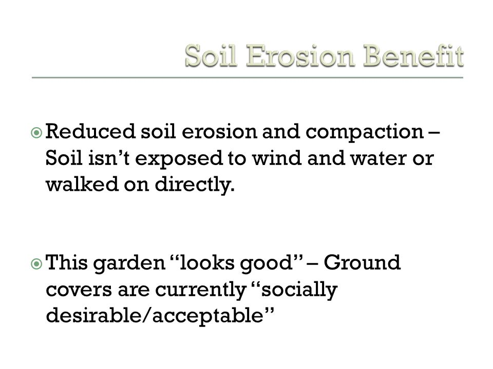 Soil Erosion Benefit Reduced soil erosion and compaction – Soil isn't exposed to wind and water or walked on directly.