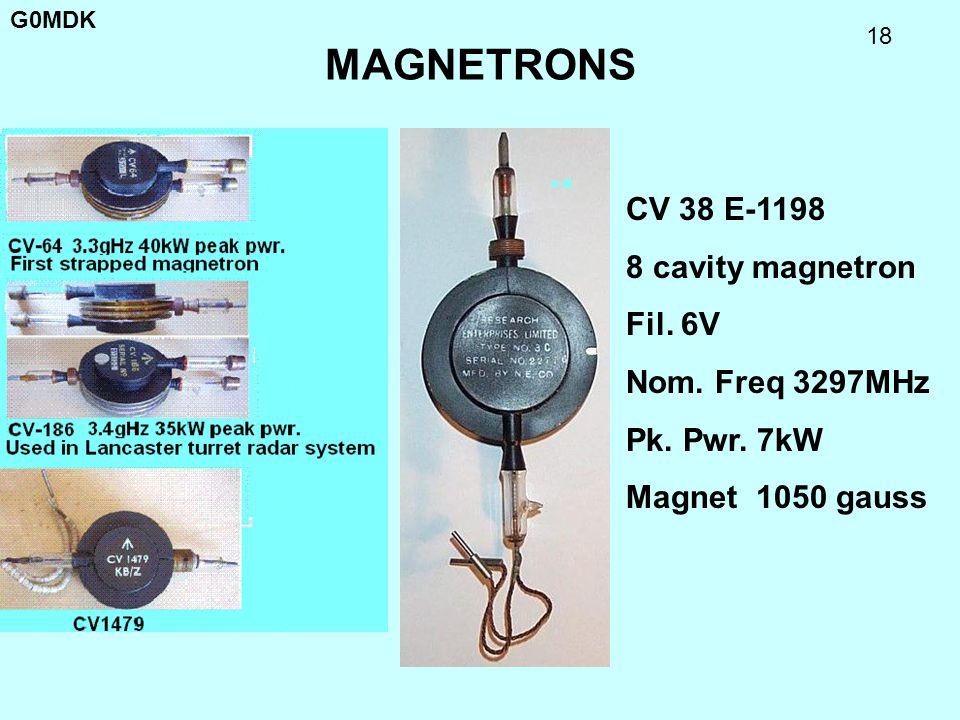 MAGNETRONS CV 38 E-1198 8 cavity magnetron Fil. 6V Nom. Freq 3297MHz