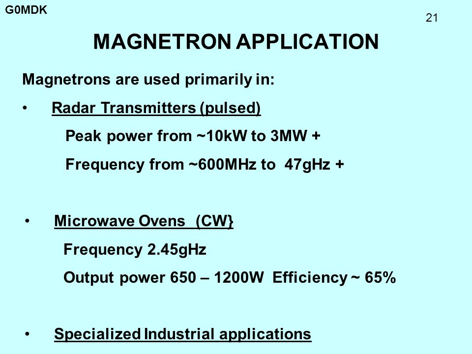 MAGNETRON APPLICATION