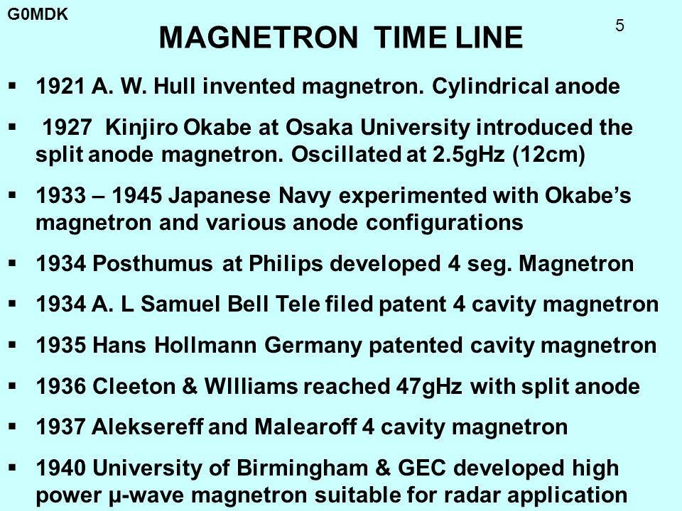 MAGNETRON TIME LINE 1921 A. W. Hull invented magnetron. Cylindrical anode.
