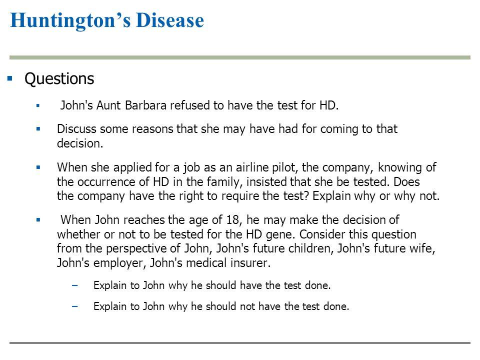 Huntington's Disease Questions