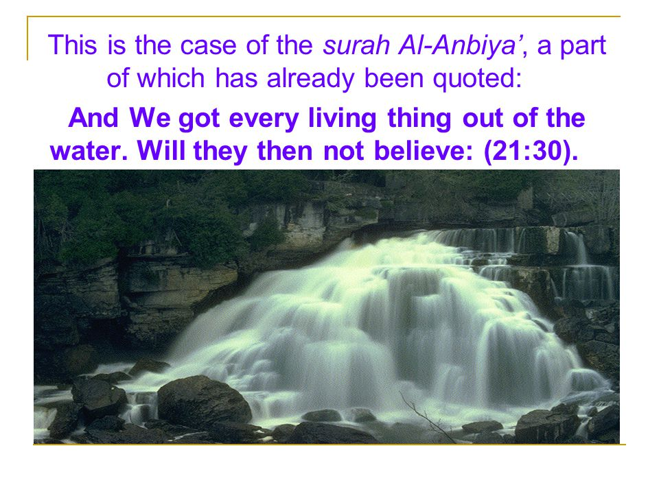 This is the case of the surah Al-Anbiya', a part of which has already been quoted: