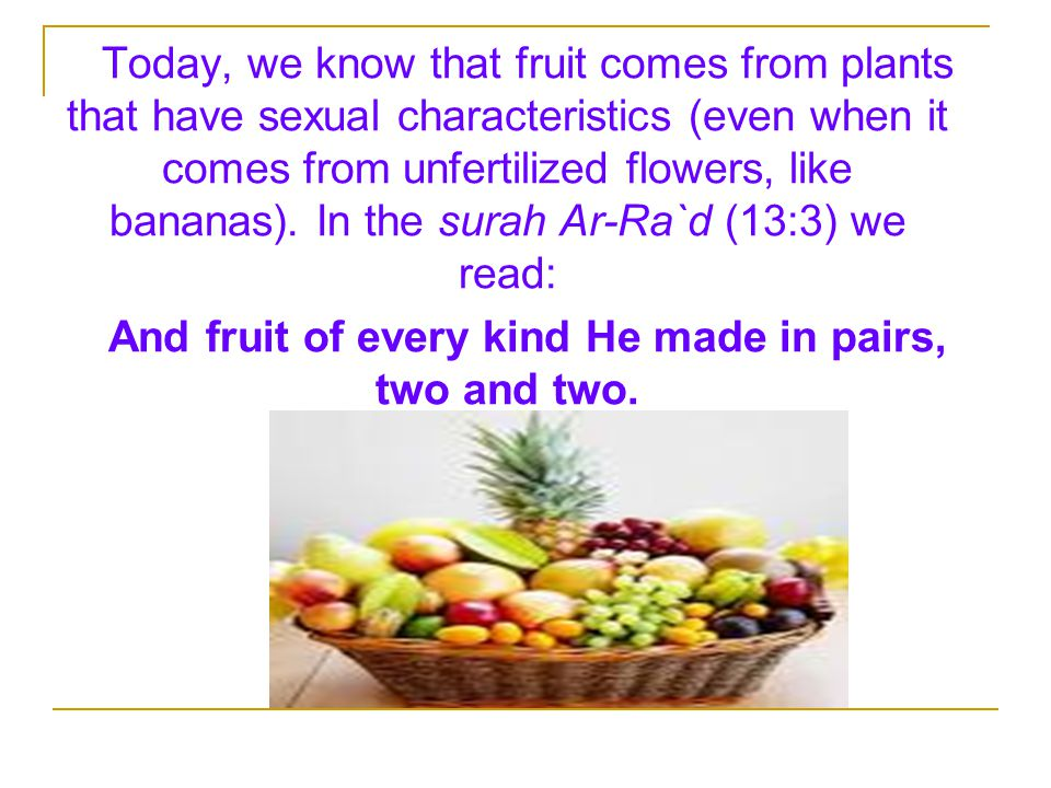 And fruit of every kind He made in pairs, two and two.