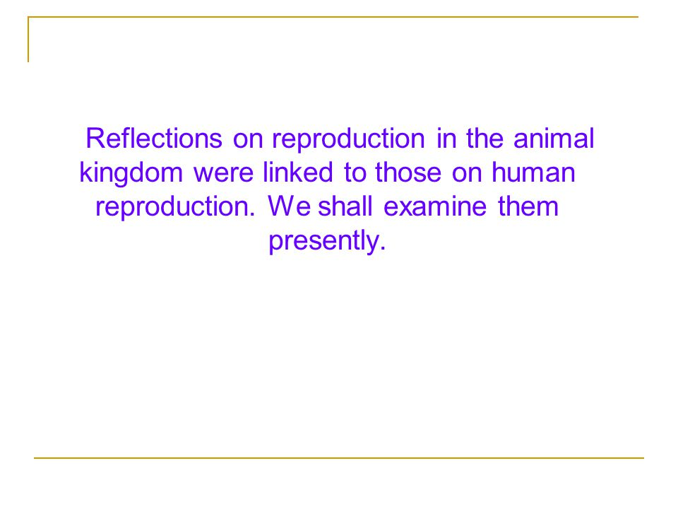 Reflections on reproduction in the animal kingdom were linked to those on human reproduction.
