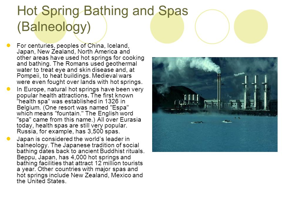 Hot Spring Bathing and Spas (Balneology)