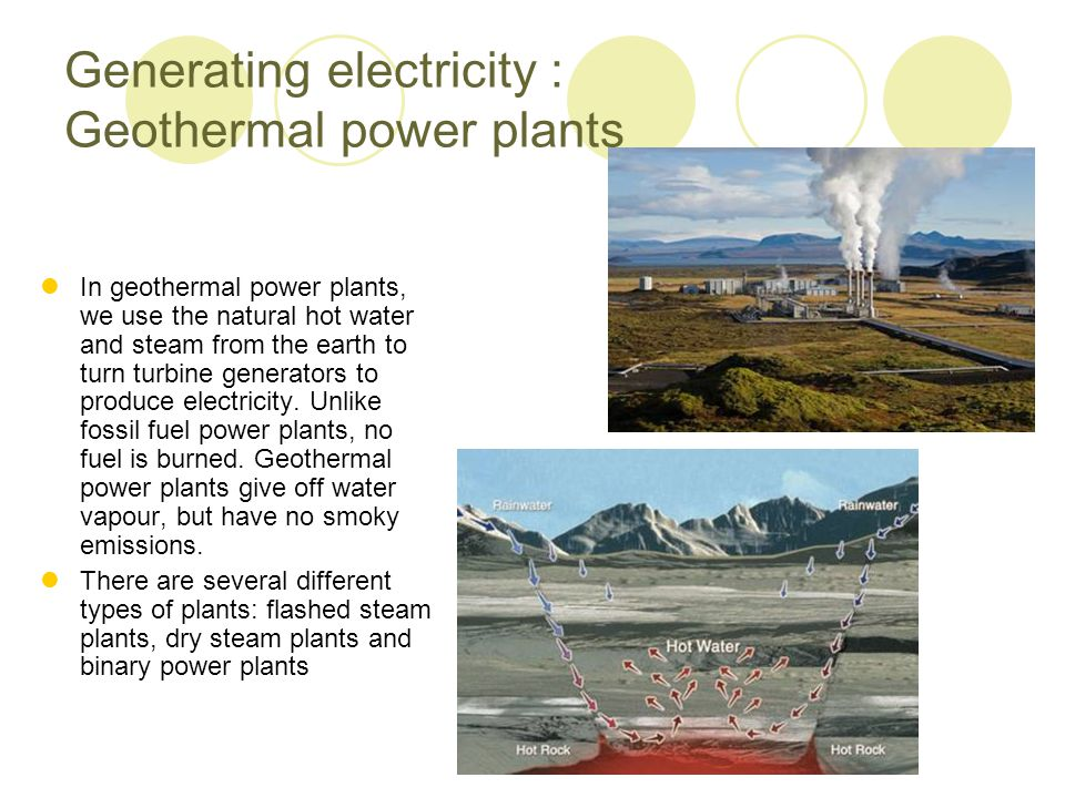 Generating electricity : Geothermal power plants