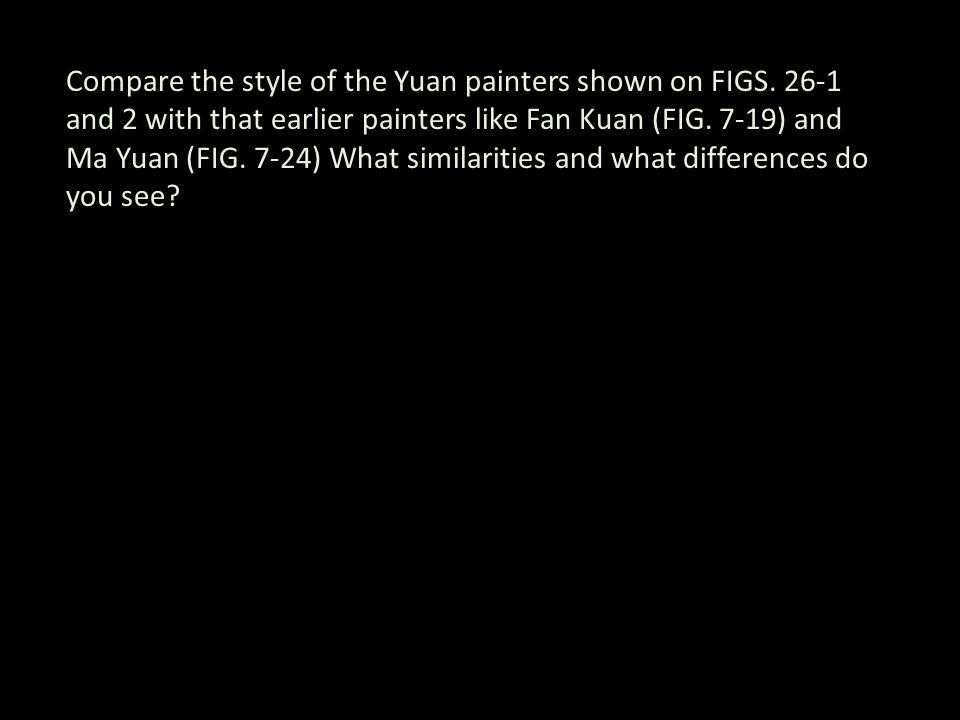 Compare the style of the Yuan painters shown on FIGS