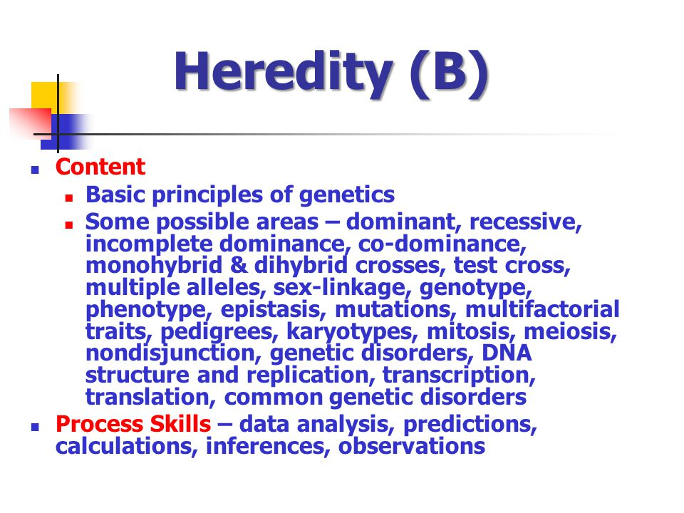 Heredity (B) Content Basic principles of genetics