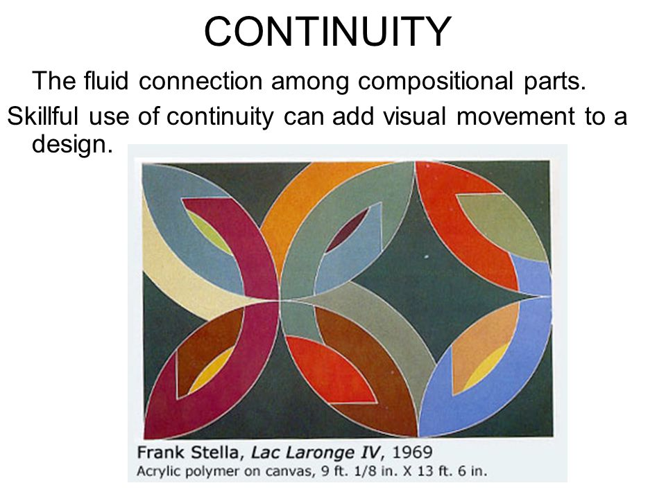 CONTINUITY The fluid connection among compositional parts.