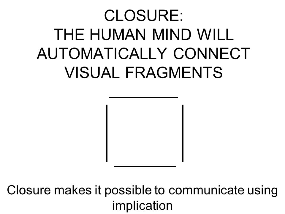 CLOSURE: THE HUMAN MIND WILL AUTOMATICALLY CONNECT VISUAL FRAGMENTS