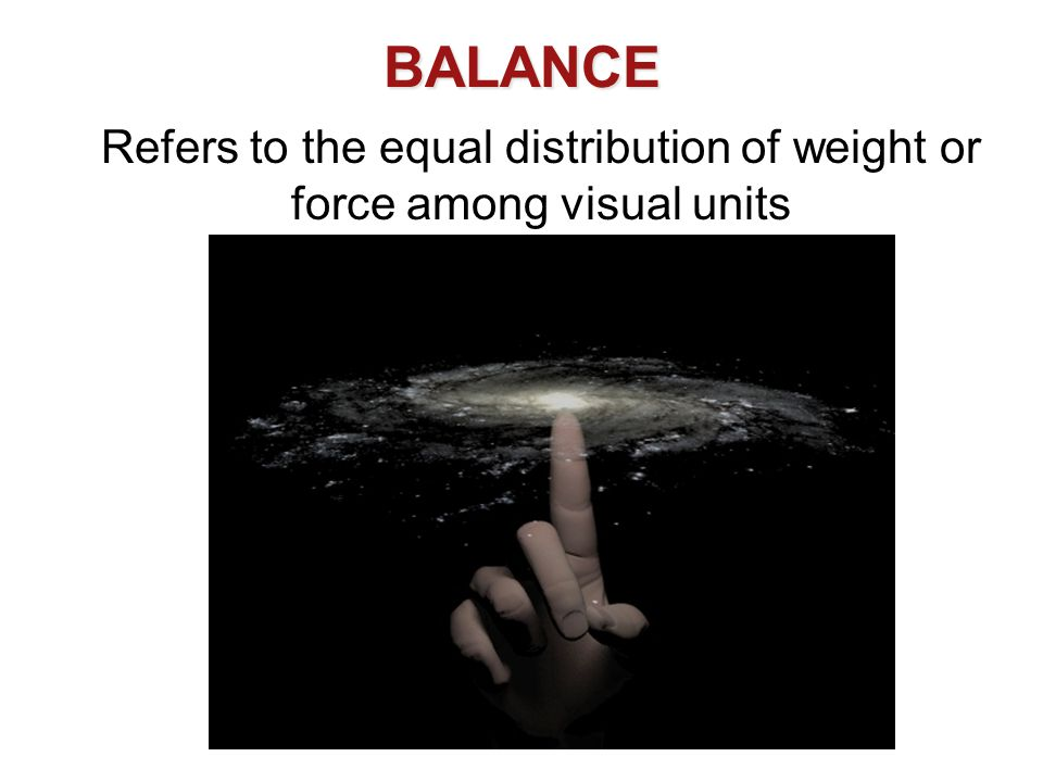 Refers to the equal distribution of weight or force among visual units