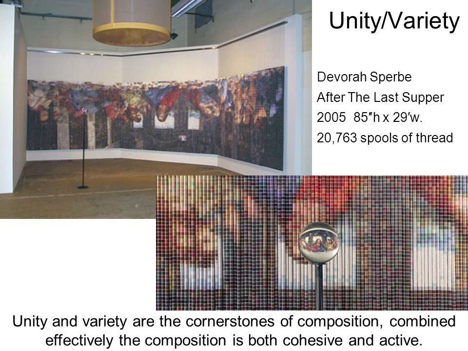 Unity/Variety Devorah Sperbe. After The Last Supper. 2005 85″h x 29′w. 20,763 spools of thread.