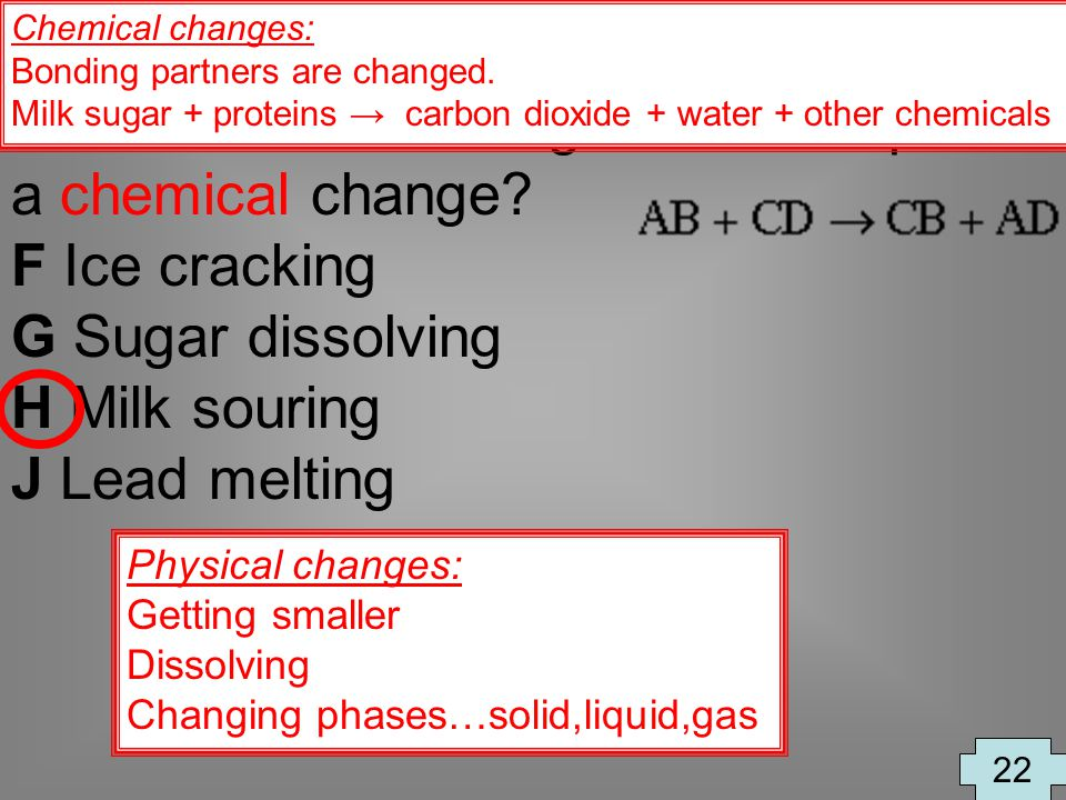 Which of the following is an example of a chemical change