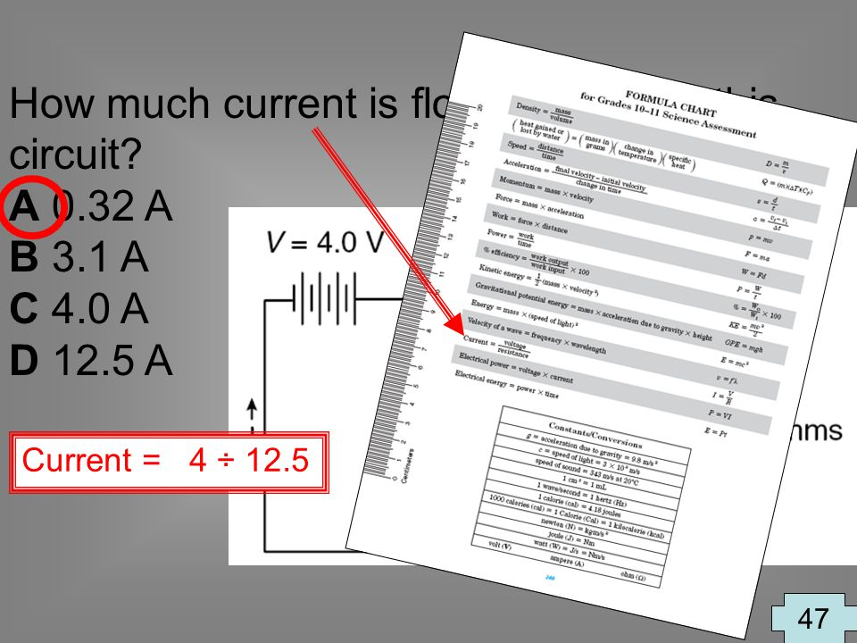 How much current is flowing through this circuit A 0.32 A B 3.1 A
