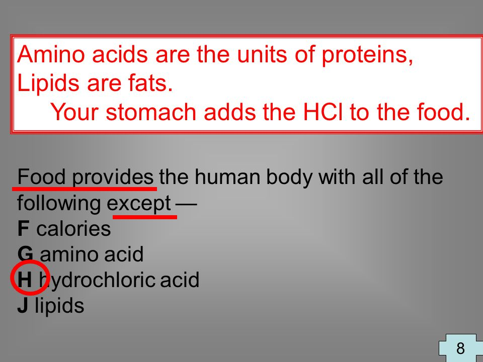 Amino acids are the units of proteins, Lipids are fats.