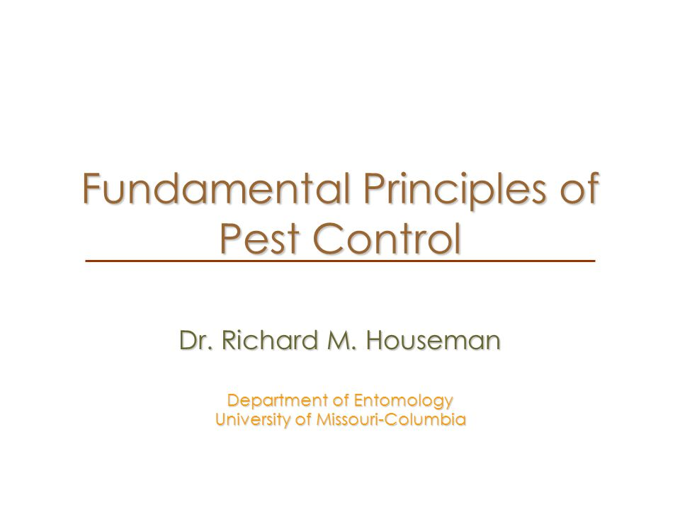 Fundamental Principles of Pest Control