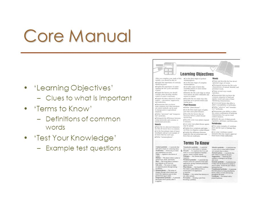 Core Manual 'Learning Objectives' 'Terms to Know'