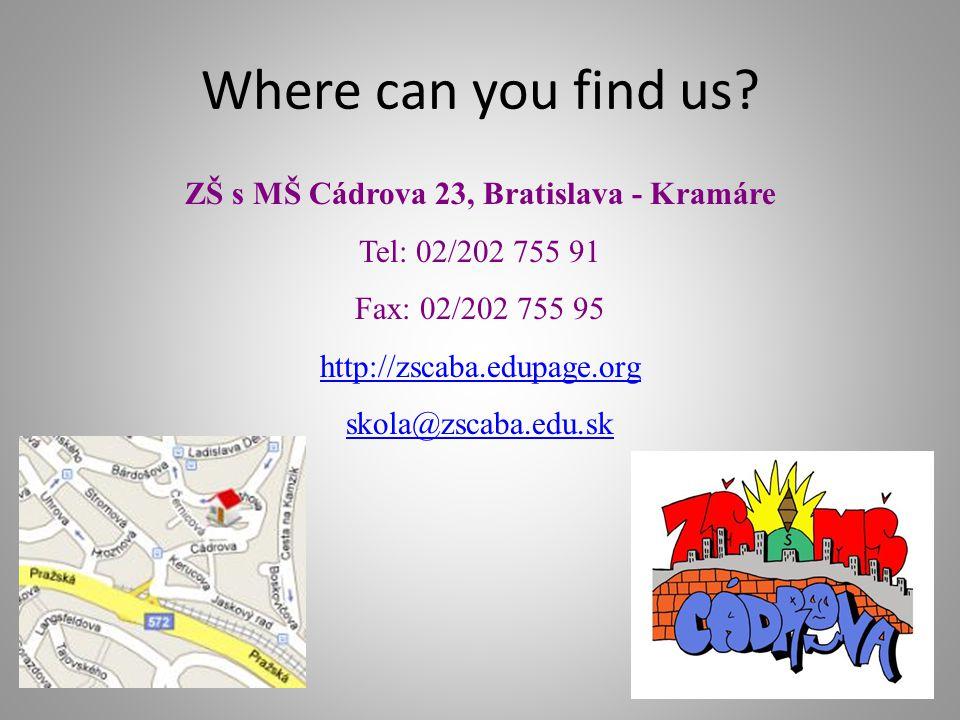 ZŠ s MŠ Cádrova 23, Bratislava - Kramáre