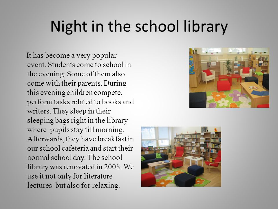 Night in the school library