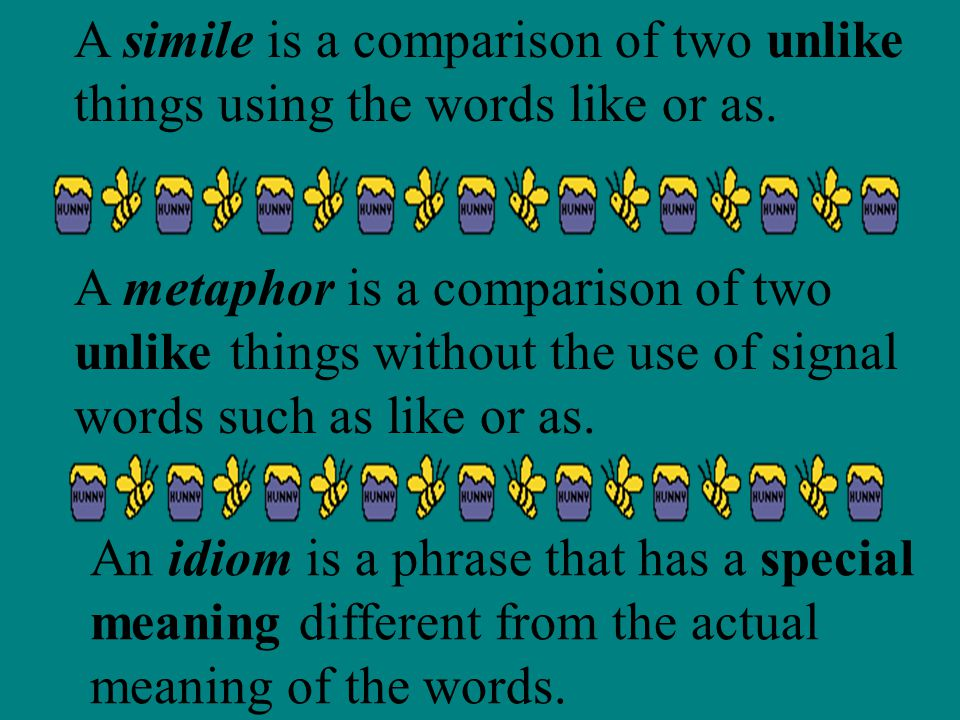 A simile is a comparison of two unlike