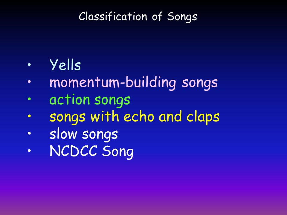 momentum-building songs action songs songs with echo and claps