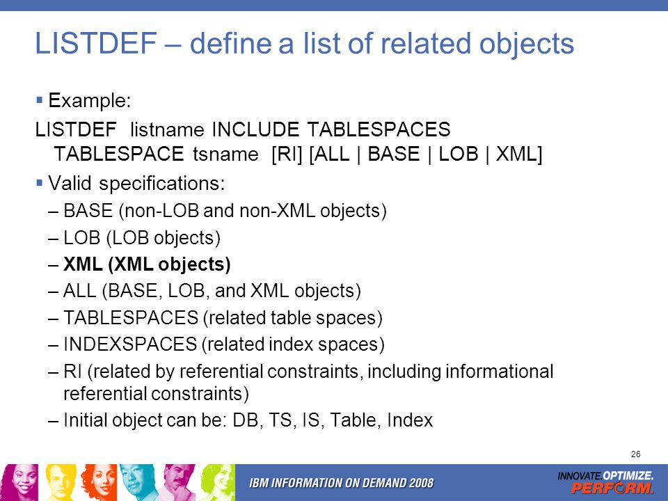 REPORT TABLESPACESET - Output