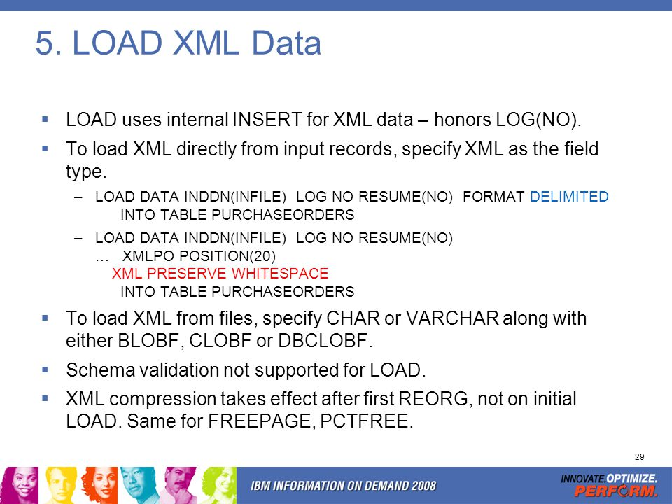 UNLOAD XML Data To unload XML data directly to output records, specify XML as the field type.