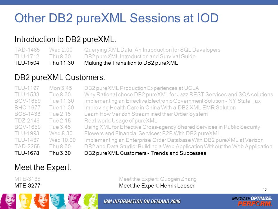 Other DB2 pureXML Sessions at IOD