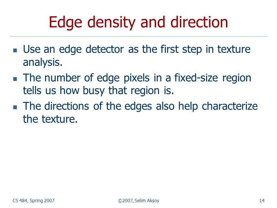 Edge density and direction