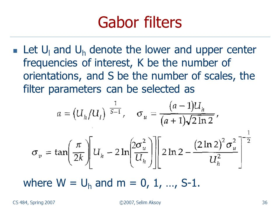 Gabor filters