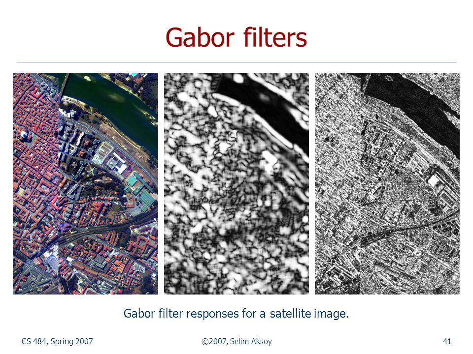 Gabor filters Gabor filter responses for a satellite image.