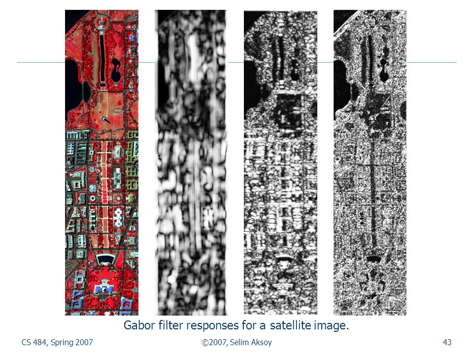 Gabor filter responses for a satellite image.