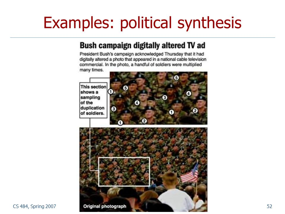 Examples: political synthesis